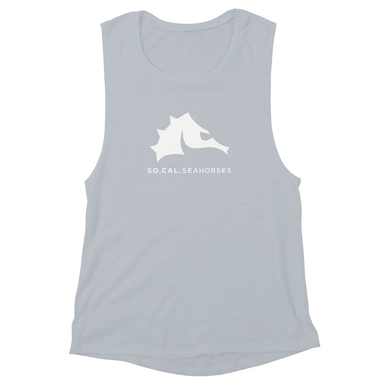 Seahorse Mascot / Wordmark - White Women's Muscle Tank by SEAHORSE SOCCER's Artist Shop