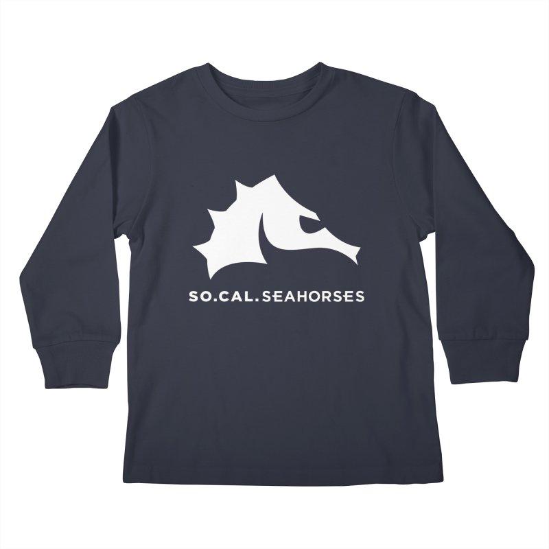 Seahorse Mascot / Wordmark - White Kids Longsleeve T-Shirt by SEAHORSE SOCCER's Artist Shop