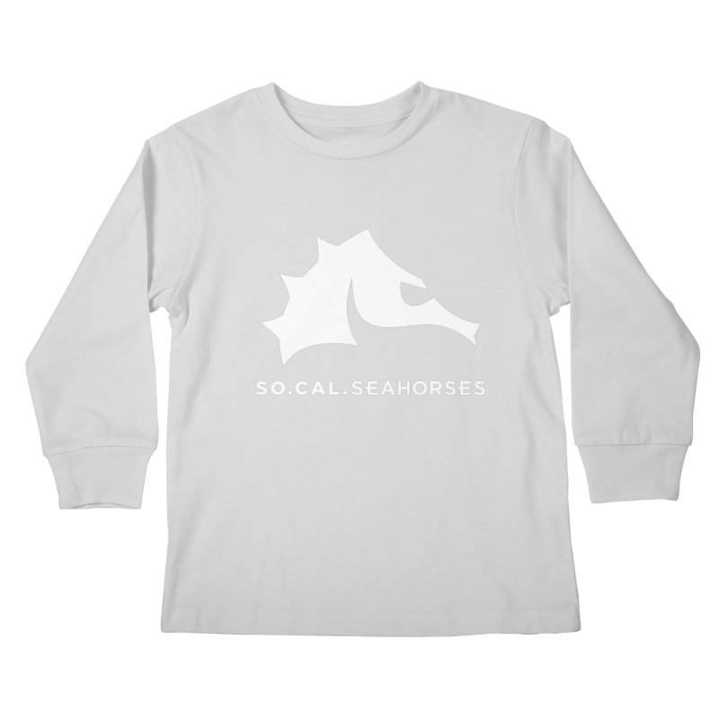 Seahorse Mascot / Wordmark - White Kids Longsleeve T-Shirt by SEAHORSE SOCCER's Artist Shop