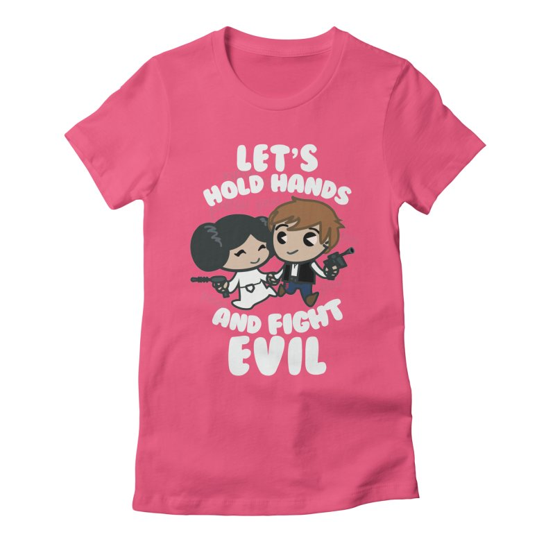 HOLD HANDS v.2 Women's Fitted T-Shirt by SIRDYNAMO ARTIST SHOP