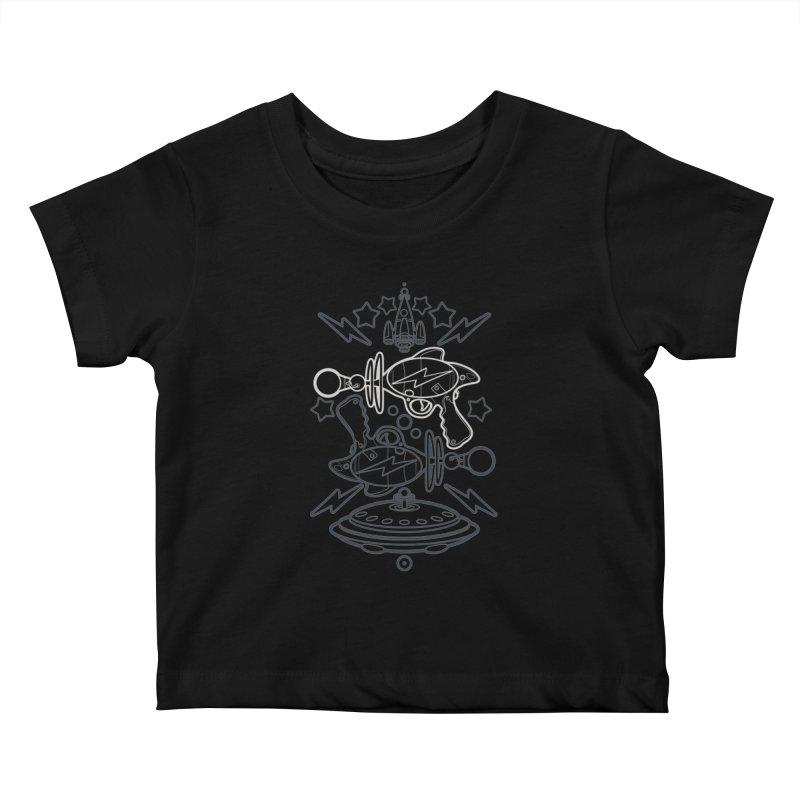RETRO FUTURE GUNNER Kids Baby T-Shirt by SIRDYNAMO ARTIST SHOP