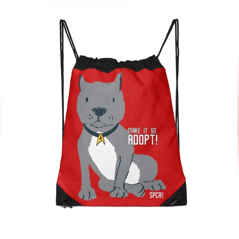 Make it so. Adopt! Accessories Drawstring Bag Bag by SPCA of Texas' Artist Shop