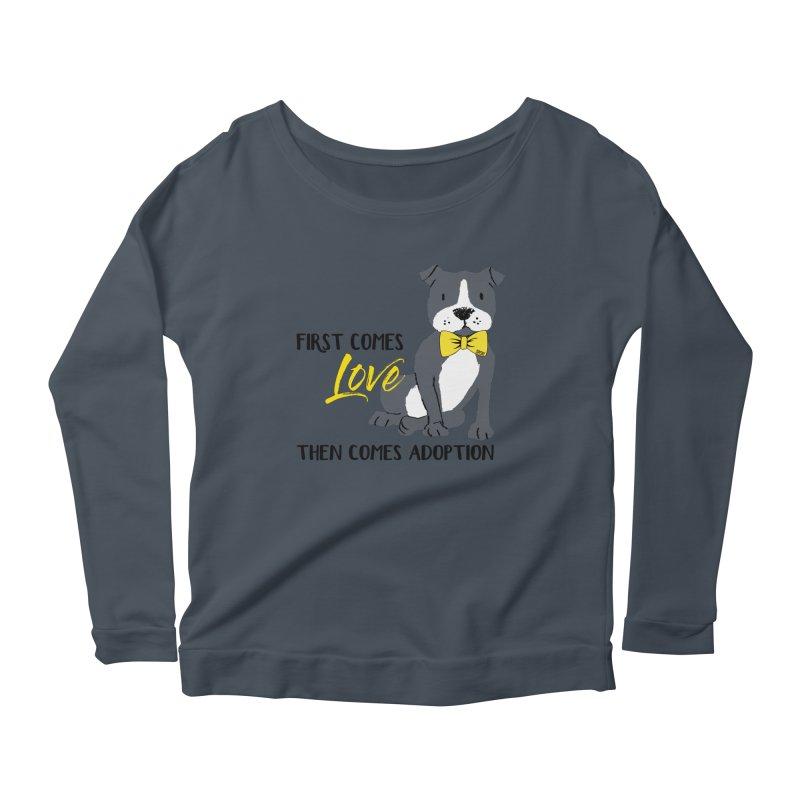 Pit Bull Love Women's Scoop Neck Longsleeve T-Shirt by SPCA of Texas' Artist Shop