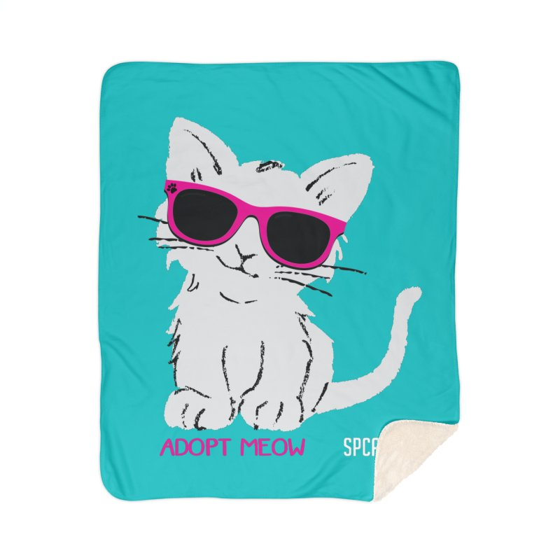 Adopt Meow Home Sherpa Blanket Blanket by SPCA of Texas' Artist Shop