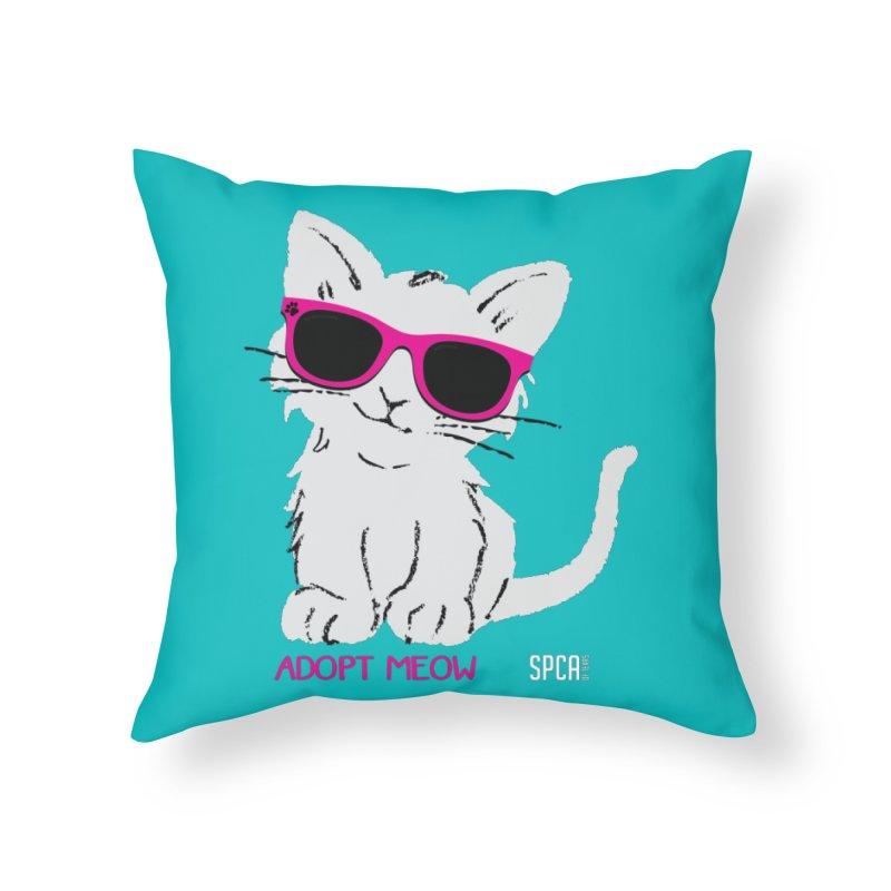 Adopt Meow Home Throw Pillow by SPCA of Texas' Artist Shop