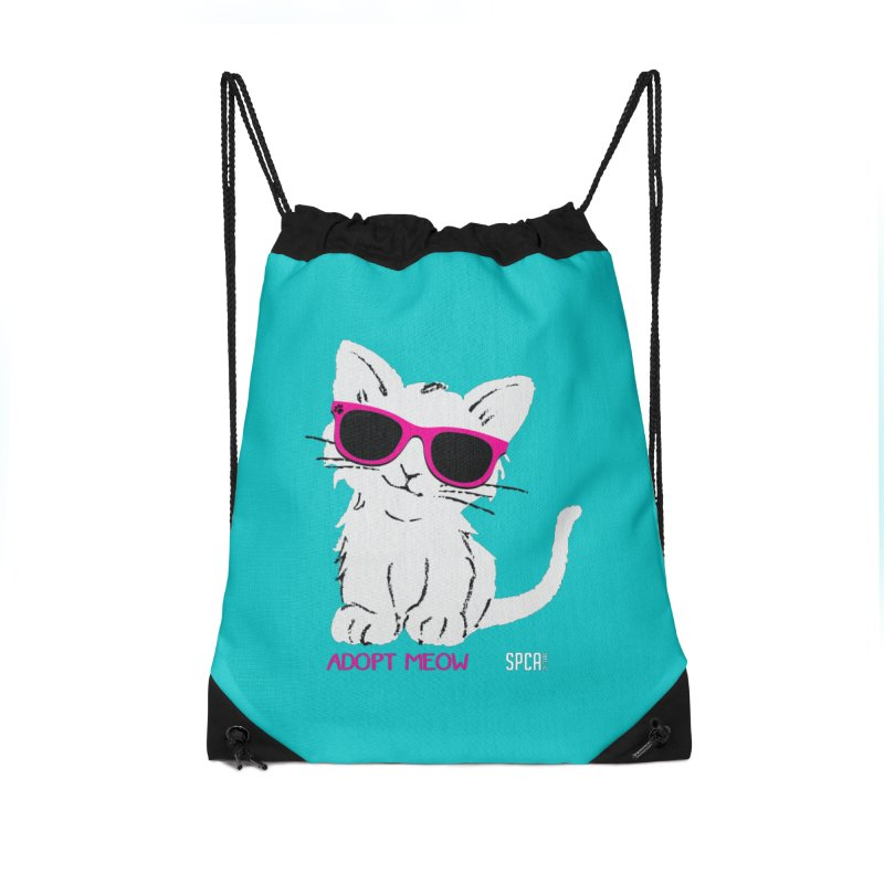 Adopt Meow Accessories Drawstring Bag Bag by SPCA of Texas' Artist Shop