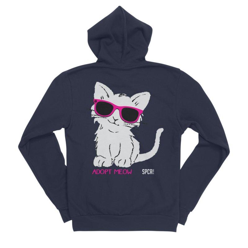 Adopt Meow Women's Sponge Fleece Zip-Up Hoody by SPCA of Texas' Artist Shop