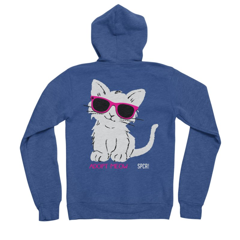 Adopt Meow Men's Sponge Fleece Zip-Up Hoody by SPCA of Texas' Artist Shop