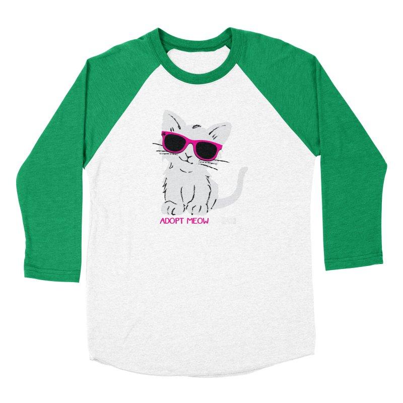 Adopt Meow Men's Baseball Triblend Longsleeve T-Shirt by SPCA of Texas' Artist Shop