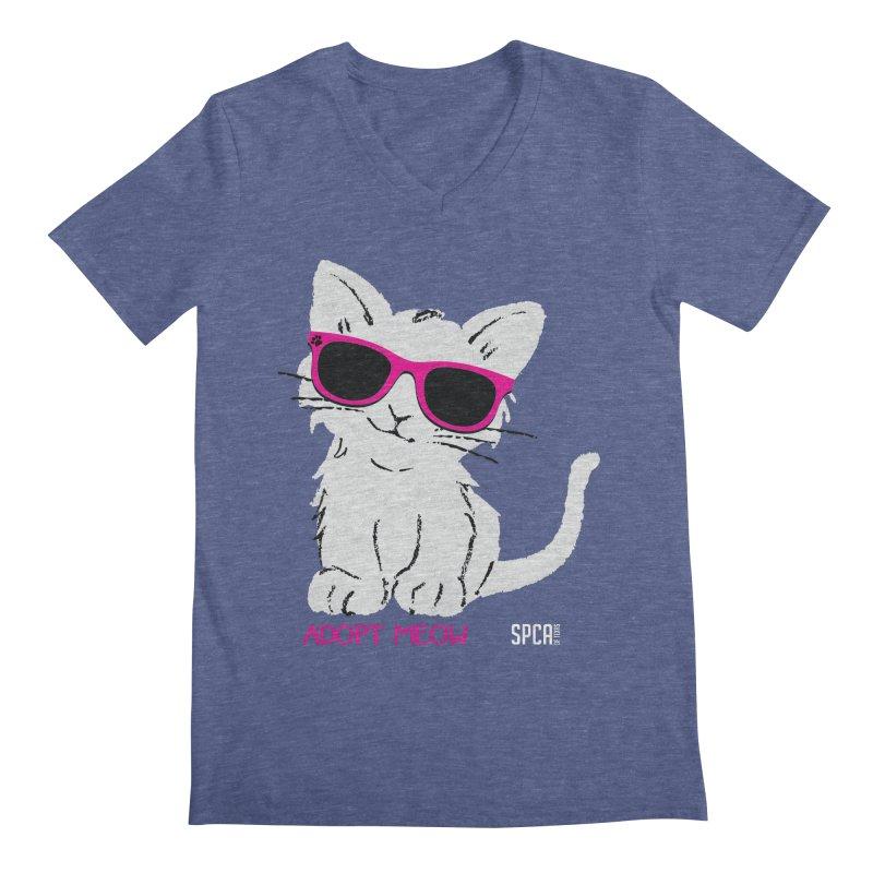 Adopt Meow Men's Regular V-Neck by SPCA of Texas' Artist Shop