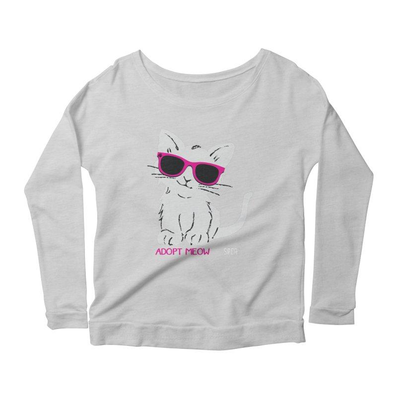 Adopt Meow Women's Scoop Neck Longsleeve T-Shirt by SPCA of Texas' Artist Shop