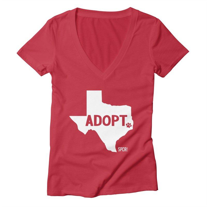 Texas Adopts! Women's Deep V-Neck V-Neck by SPCA of Texas' Artist Shop