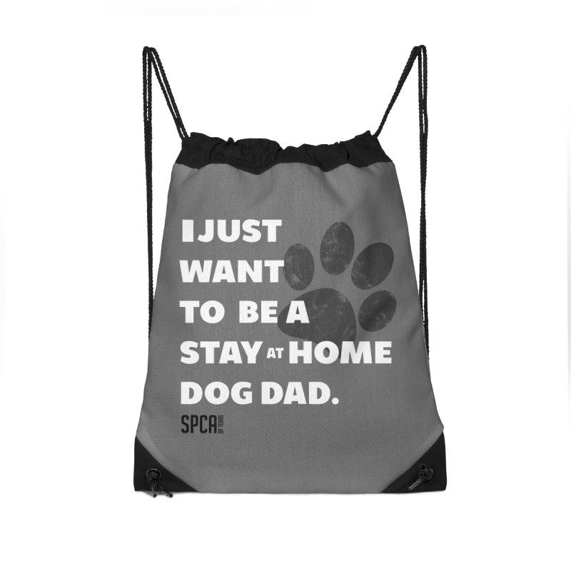 Dog Dad Accessories Drawstring Bag Bag by SPCA of Texas' Artist Shop