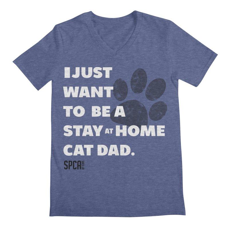 Cat Dad Men's Regular V-Neck by SPCA of Texas' Artist Shop