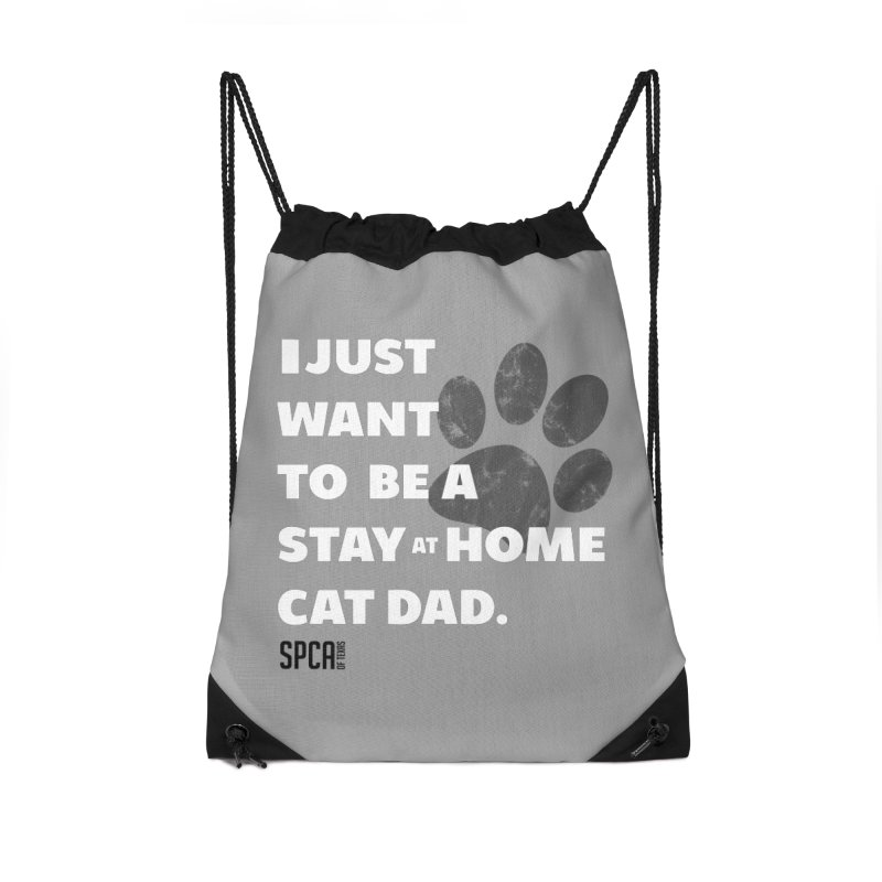Cat Dad Accessories Drawstring Bag Bag by SPCA of Texas' Artist Shop