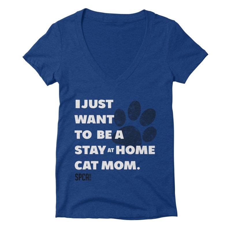 Cat Mom Women's Deep V-Neck V-Neck by SPCA of Texas' Artist Shop
