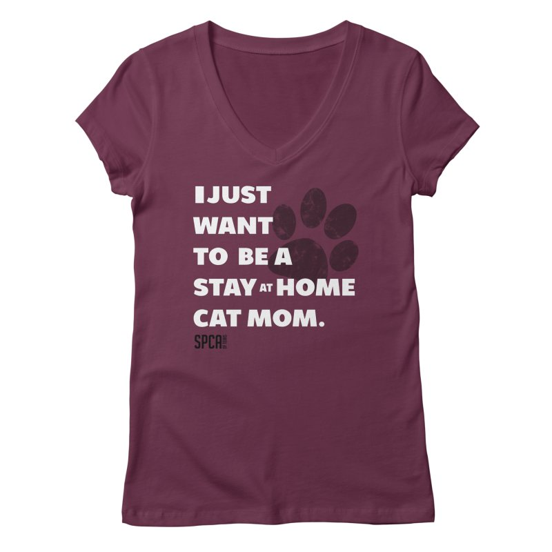 Cat Mom Women's Regular V-Neck by SPCA of Texas' Artist Shop