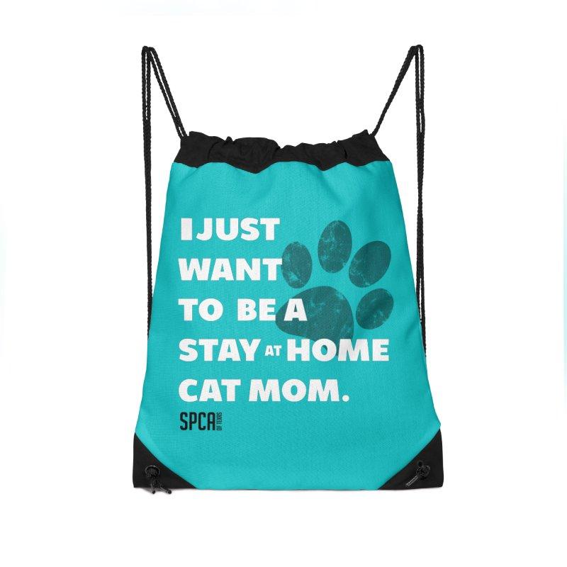 Cat Mom Accessories Drawstring Bag Bag by SPCA of Texas' Artist Shop
