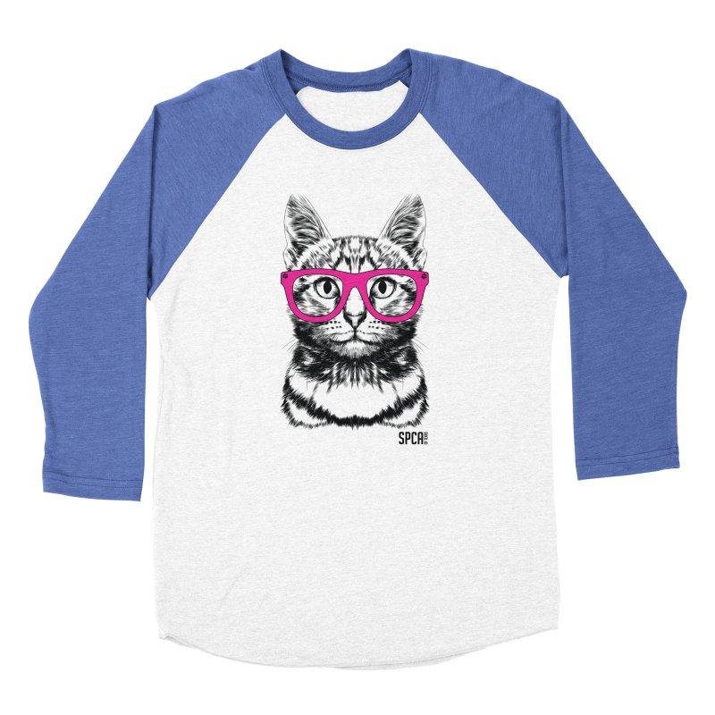 Smarty Cat Men's Baseball Triblend Longsleeve T-Shirt by SPCA of Texas' Artist Shop