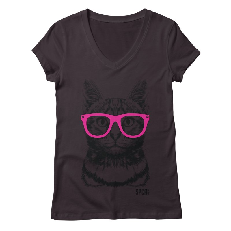 Smarty Cat Women's Regular V-Neck by SPCA of Texas' Artist Shop