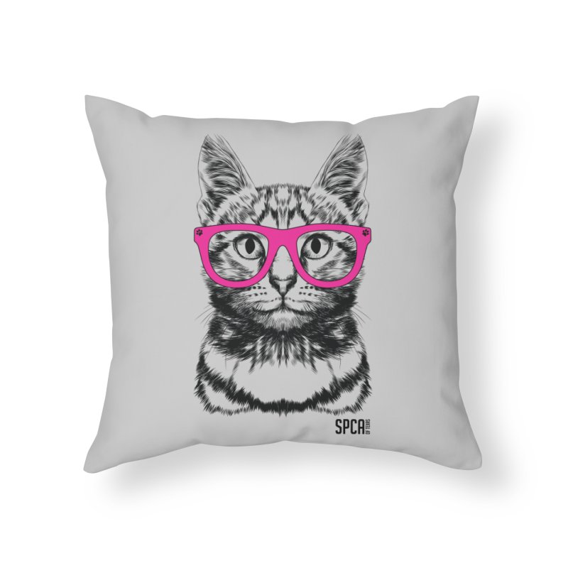 Smarty Cat Home Throw Pillow by SPCA of Texas' Artist Shop