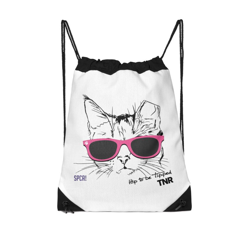 Hip to Be Tipped - TNR Accessories Drawstring Bag Bag by SPCA of Texas' Artist Shop