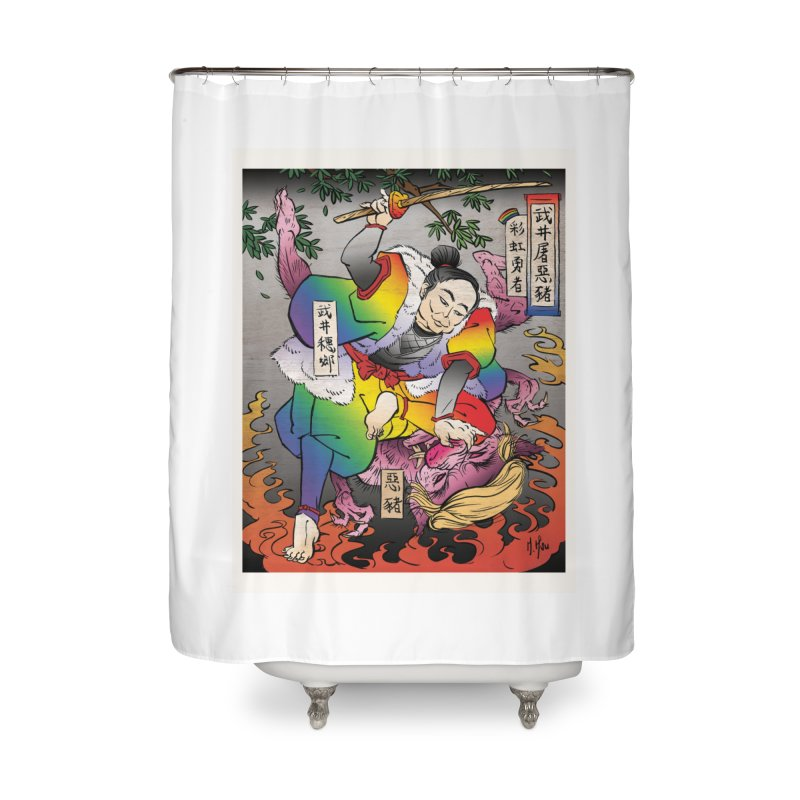 Takei Slays Demon Pig Home Shower Curtain by SQETCHBOOK
