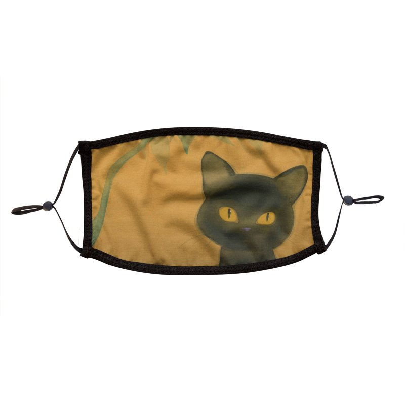 Black Cat Face Mask Accessories Face Mask by SQETCHBOOK