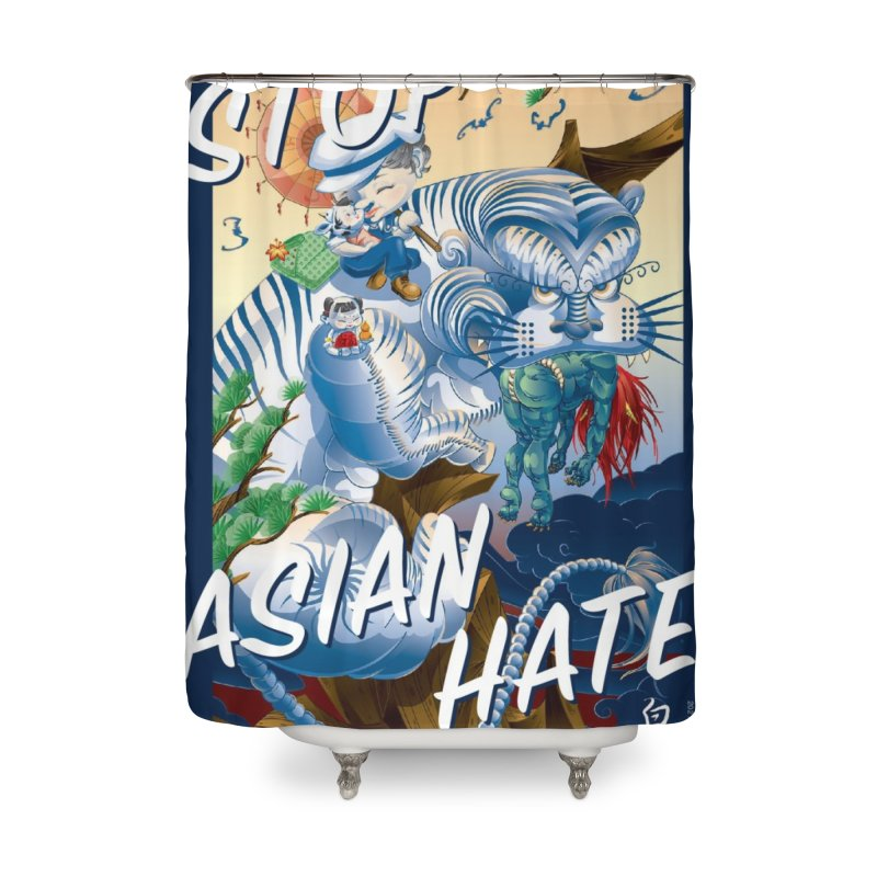 Stop Asian Hate- Tiger T-shirt Home Shower Curtain by SQETCHBOOK