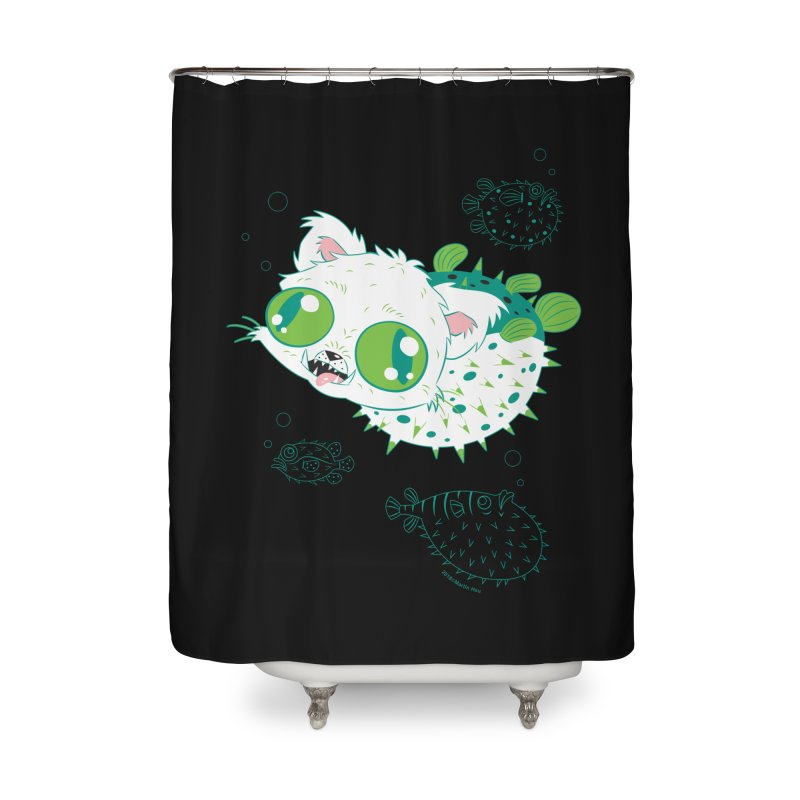 Puffer Cat Home Shower Curtain by SQETCHBOOK
