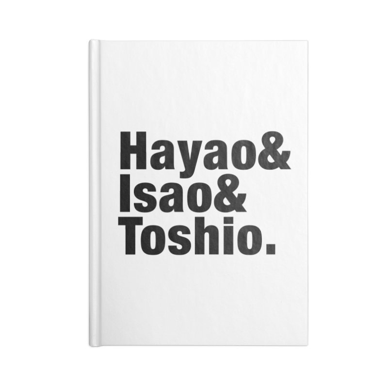 Hayao & Isao & Toshio - Black Accessories Notebook by SQETCHBOOK