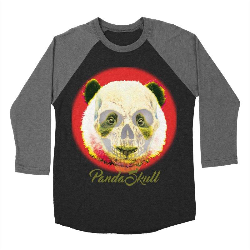 Panda skull in Women's Baseball Triblend Longsleeve T-Shirt Grey Triblend Sleeves by SUBTERRA's Shop