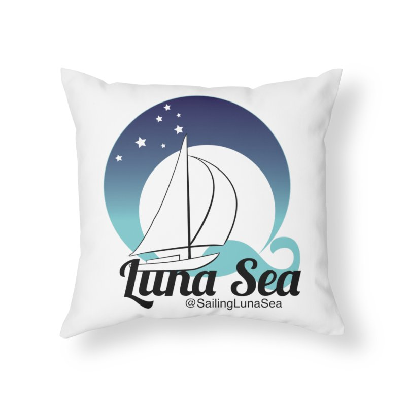 Sailing Luna Sea Logo Tees and Swag Home Throw Pillow by Sailing Luna Sea's Swag Shop
