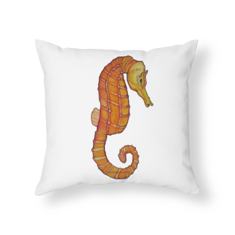 Charlie the Cranky Seahorse Home Throw Pillow by Sailing Luna Sea's Swag Shop