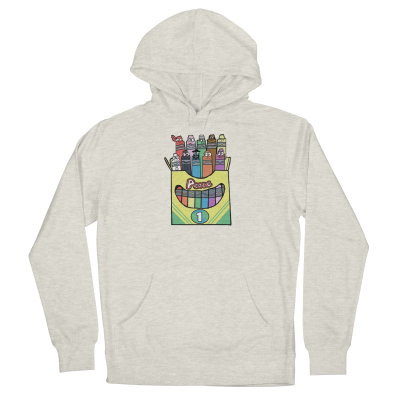 Colors of Peace in Women's French Terry Pullover Hoody Heather Oatmeal by Sam Shain's Artist Shop