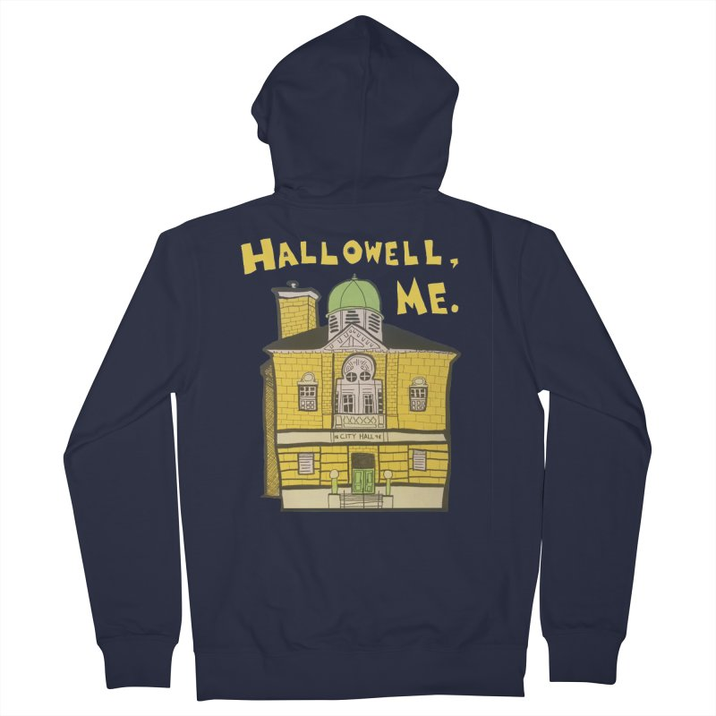 Hallowell, ME Men's French Terry Zip-Up Hoody by Sam Shain's Artist Shop
