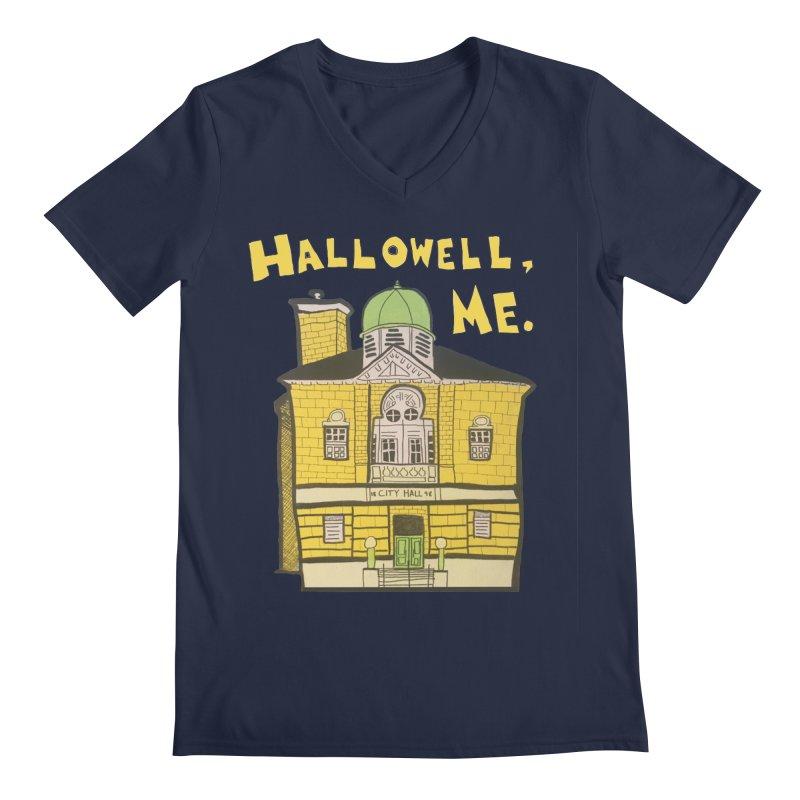 Hallowell, ME Men's Regular V-Neck by Sam Shain's Artist Shop