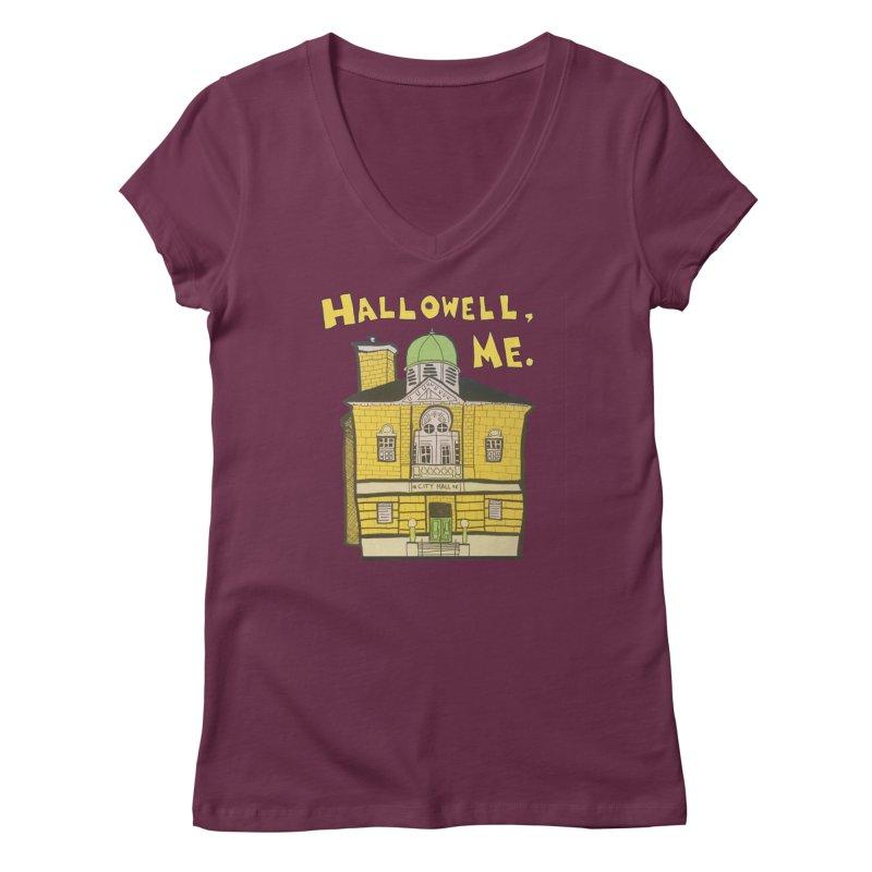 Hallowell, ME Women's Regular V-Neck by Sam Shain's Artist Shop