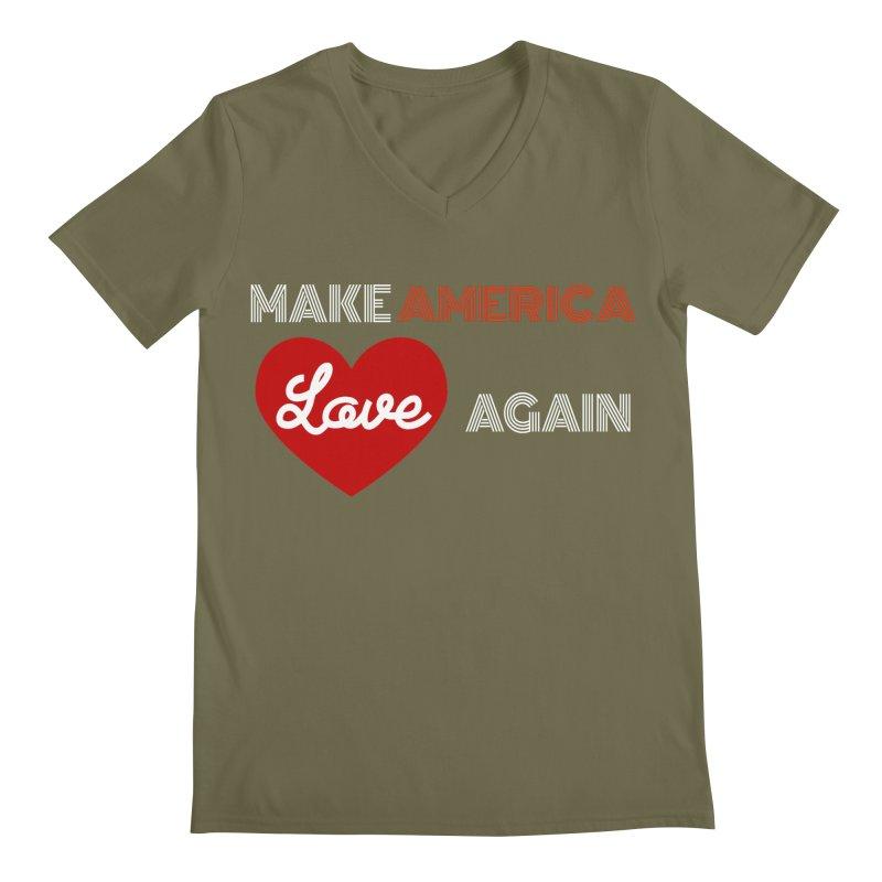 Make America Love Again Men's Regular V-Neck by Sam Shain's Artist Shop