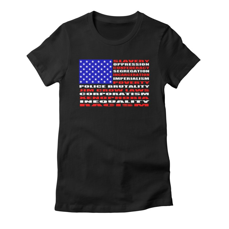 Land of the Free Women's Fitted T-Shirt by Sam Shain's Artist Shop