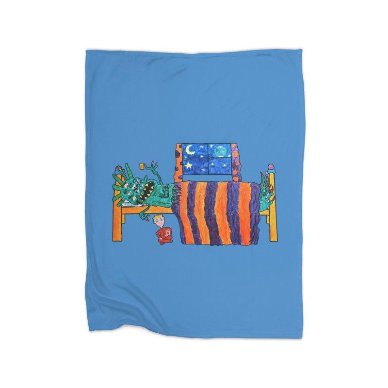 Monster Under the Bed Home Fleece Blanket Blanket by Sam Shain's Artist Shop