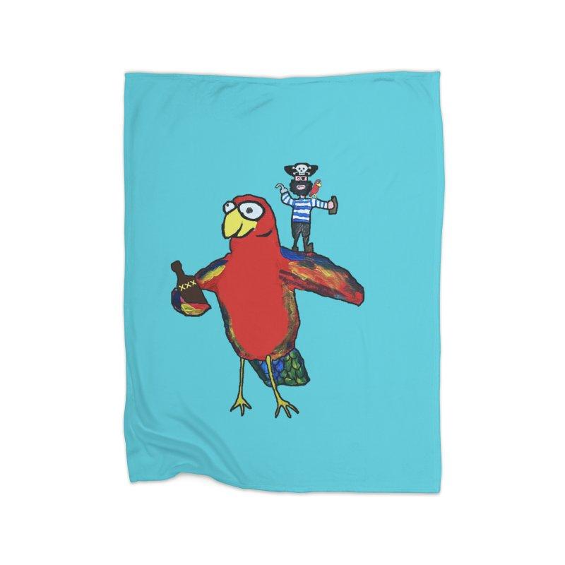 A Parrot's Life For Me Home Fleece Blanket Blanket by Sam Shain's Artist Shop