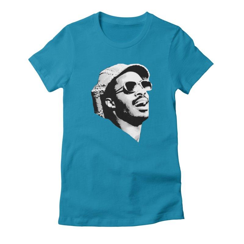 Stevie Wonder Women's Fitted T-Shirt by Sam Shain's Artist Shop
