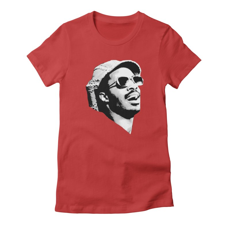 Stevie Wonder Women's Fitted T-Shirt by Sam Shain's Artist Shop