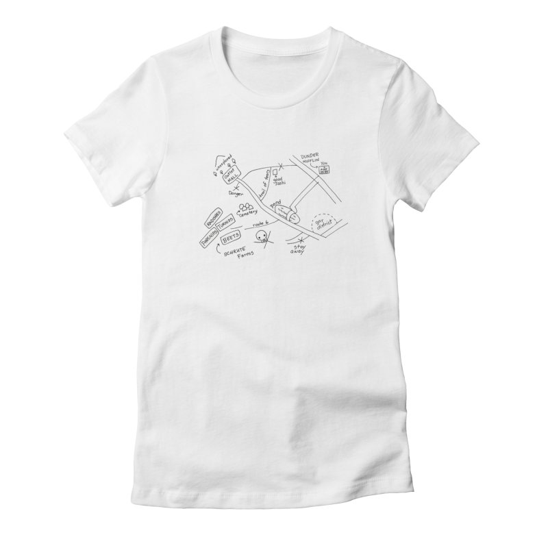 Map to Schrute Farm Women's Fitted T-Shirt by Sam Shain's Artist Shop