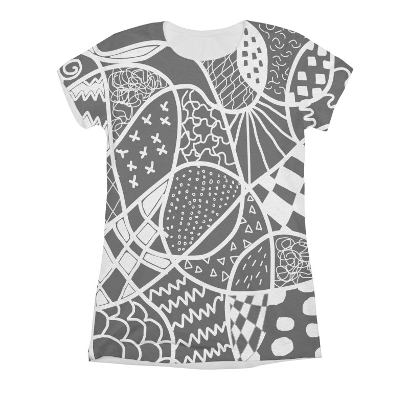 Black and White Women's Triblend All Over Print by Sam Shain's Artist Shop