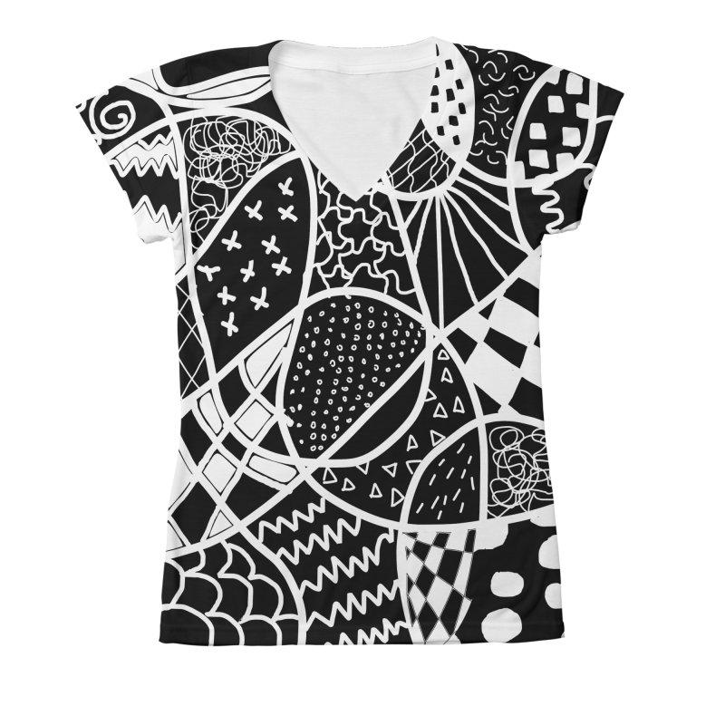 Black and White Women's V-Neck All Over Print by Sam Shain's Artist Shop