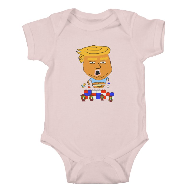 Trump's Wall in Kids Baby Bodysuit Soft Pink by SamShain's Artist Shop