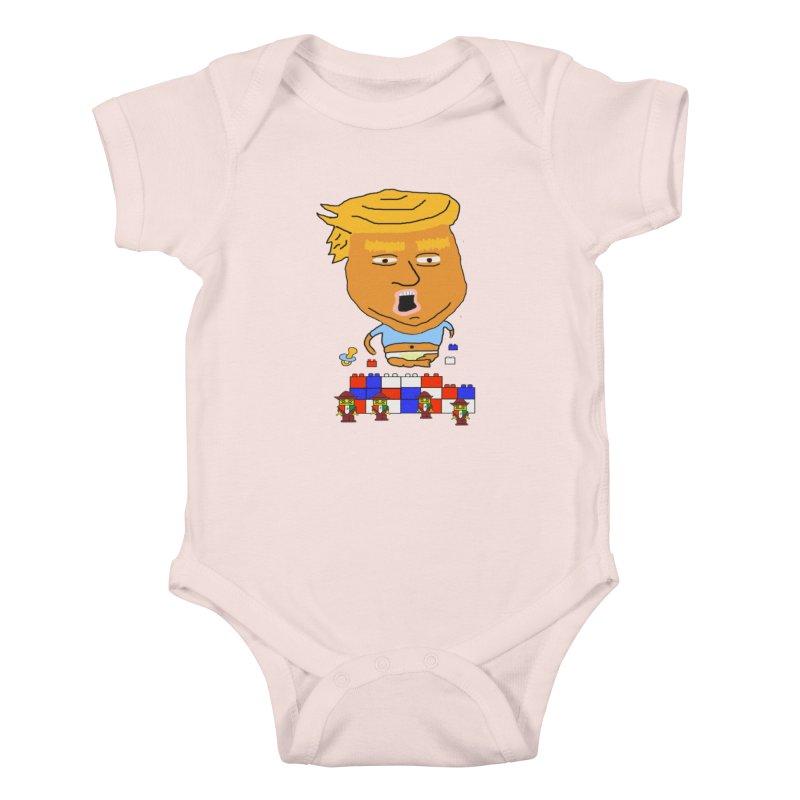 Trump's Wall in Kids Baby Bodysuit Soft Pink by SamShain's Artist Shop