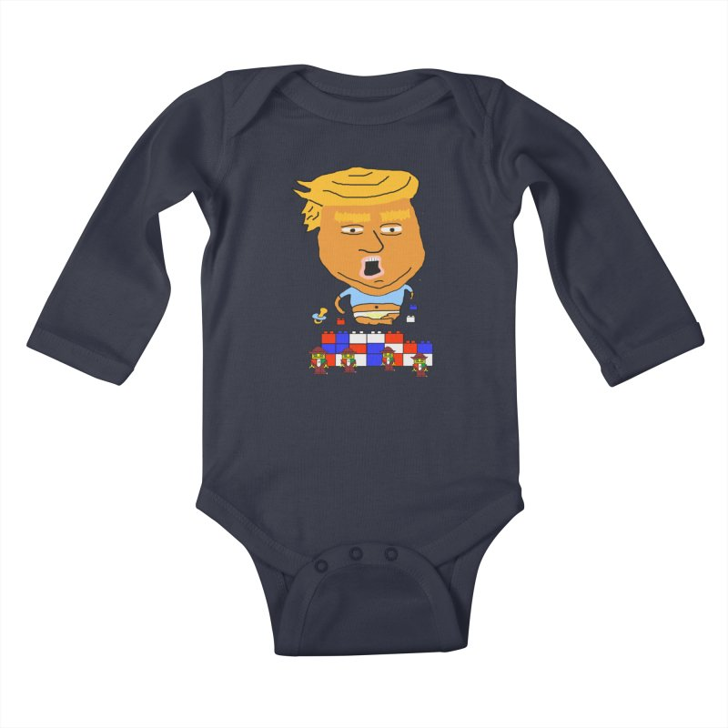 Trump's Wall Kids Baby Longsleeve Bodysuit by Sam Shain's Artist Shop